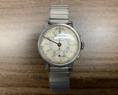 $ CDN1300 • Buy Vintage 1940's Buren WWII Military Chronograph Watch In Pristine Condition