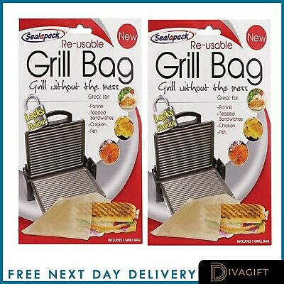 Reusable Panini Grill Griddle Bags Toasted Sandwich Toastie Pack 2 Toastabags • 2.90£