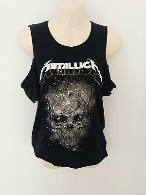 Metallica Black Off Shoulder Top From H&M Size XS Metal Rock Chic Band H&M • 12£