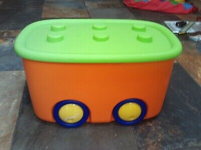 Plastic Toy Storage Box / Cart With Wheels • 12£