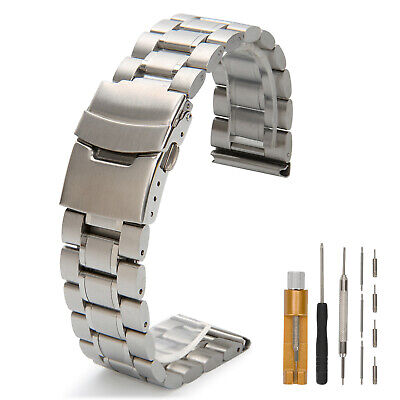 Double Locking Metal Replacement Watch Straps For Men 20mm 24mm 22mm Stainless • 17£