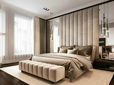 Vertical Design Fabric Upholstered Wall Panels Headboard - Any Fabric Colour • 89.99£