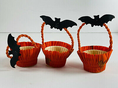 $ CDN66.06 • Buy Vintage Halloween Lot (3) Die Cut Bat Nut Cup Baskets NICE
