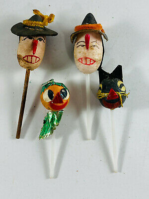 $ CDN46.24 • Buy Vintage Halloween Lot (x4) Japan Cupcake Topper Witch Pumpkin Black Cat