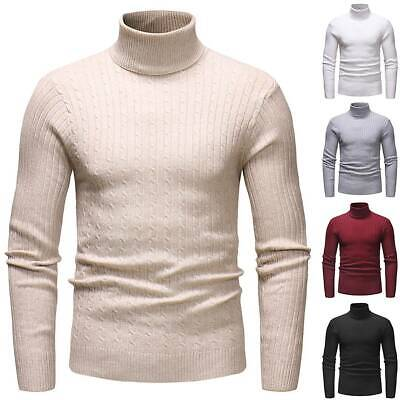 Men Turtle Neck Knitted Pullover Jumpers Winter Thick Warm Sweater Tops Knitwear • 12.91£