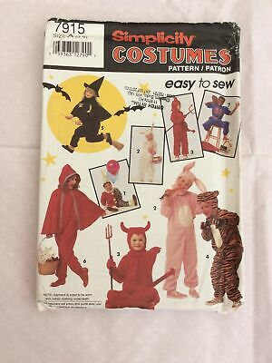 Simplicity Costumes Sewing Pattern 7915 Halloween Witch Devil Animals Age 3-8 • 5£