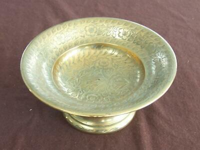 Vintage Brass Pedestal Bowl Footed Compote C/w Floral Engraving ~ Made In India  • 1.99£