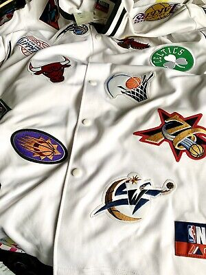 $169 • Buy Deadstock Rare NBA Majestic Button Up Patches Top, Celtics Bulls Lakers Size L