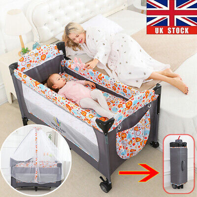 Foldable Baby Bedside Crib Portable Travel Cot Bed Mattress Mesh W/ Carry Bag UK • 82.73£
