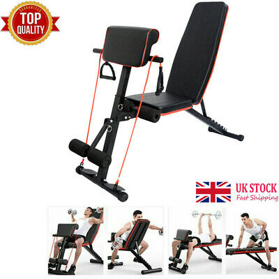 Adjustable Weight Bench Fitness Training Utility Exercise Bench W/Headrest UK • 72.90£