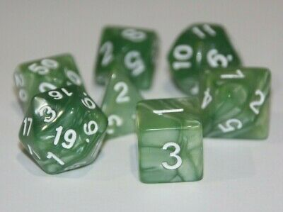 AU8.97 • Buy Dice 7 Piece Set Pale Green Pearl Polyhedral D & D Pathfinder Dungeons & Dragons