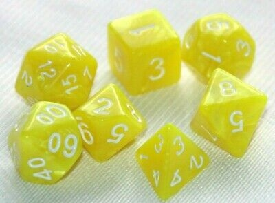 AU8.97 • Buy Dice 7 Piece Set Yellow Pearl Polyhedral D & D Pathfinder Dungeons & Dragons