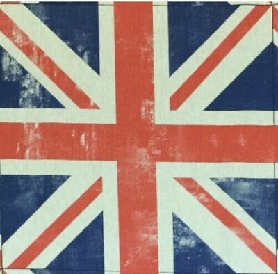 Cotton Rich Linen Fabric Union Jack Flag 18  X 18  Panel Cushion Upholstery • 4£