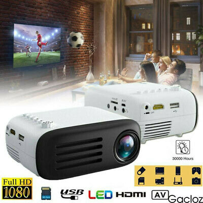Full HD 1080P 7000 Lumen LCD LED Projector Home Theater Cinema USB HDMI AV SD 4K • 35.50£