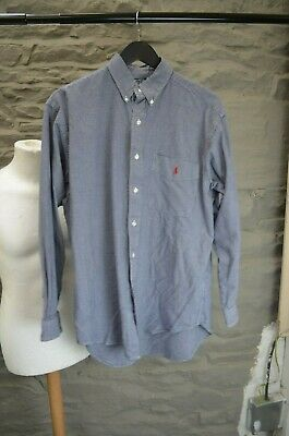 Polo Ralph Lauren  Blaire Blue Gingham Cotton Oxford Shirt Size M. Used • 15£
