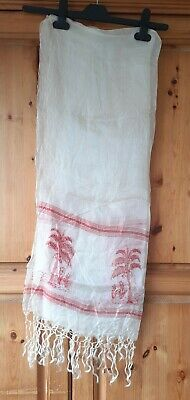 Cream Net Scarf With Red Tree Details….68ins Long Including Tassels X 23ins Wide • 1£