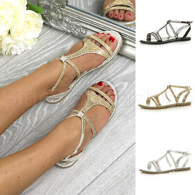 Womens Ladies Flat Embellished Diamante Sparkly Strappy T-bar Sandals Shoes Size • 15.99£