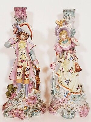 $ CDN117.61 • Buy Antique Victorian Bisque Porcelain Couple Candle Stick Holders Figurines