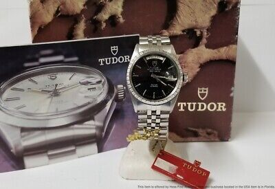 $ CDN1215.73 • Buy Vintage Rolex Tudor 94510 Day Date Oyster Prince Black Dial W Box Tags Booklets