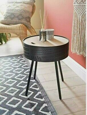 Tribal Side Table Top Modern End Black Coffe Table Storage Space Round Table New • 38.95£