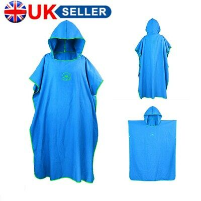 Adult Beach Changing Towel Microfiber Surf Bath Robe Poncho One Size Hooded-Blue • 15.99£