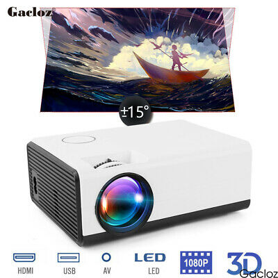 Mini Wifi Projector Android 4K Full HD 1080P LED Home Theater HDMI USB Portable • 85.99£
