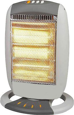 £29.98 • Buy 1200W Halogen Heater Instant Portable Electric Oscillating 3 Bar Home Office