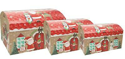Set Of 3 Giant Christmas Nested Chest Storage Gift Boxes - Santa's Grotto Elves • 29.99£
