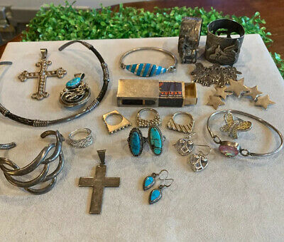 $ CDN114.97 • Buy Sterling Silver Jewelry Lot Turquoise Vintage
