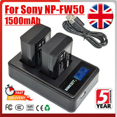 2X NP-FW50 Battery + LCD Dual Charger Replace For Sony Alpha A6500 A6300 A7s XM • 16.99£