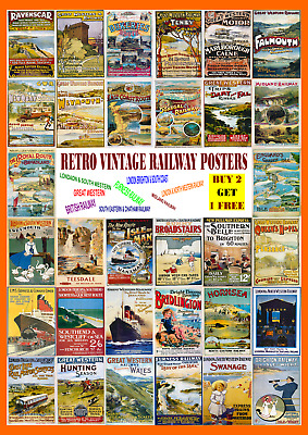 £3.25 • Buy Railway Posters Retro Vintage Travel Wall Art Deco Posters GWR Great Northern