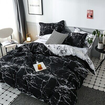 AU37.59 • Buy Marble Black Quilt/Doona/Duvet Cover Set Double Queen King Super Size Bed Linen