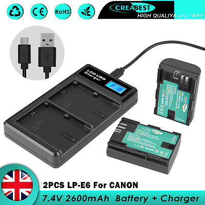 £28.89 • Buy 2x 2.6AH LP-E6 Battery & Charger For Canon EOS 5DS Mark II 60D 70D LP-E6N E6NH