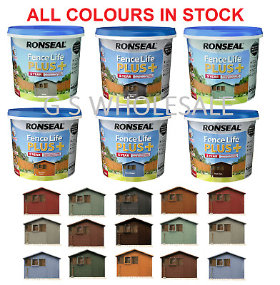 Ronseal Fence Life Plus Garden Shed & Fence Paint 5L- UV Potection - All Colours • 14.99£