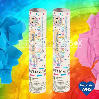 £5.95 • Buy NEW 2 X BABY SHOWER GENDER REVEAL CONFETTI SHOOTER CANNON PINK BLUE POPPER PARTY