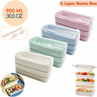 AU13.89 • Buy Lunch Box Leakproof Microwave Food Container 3 Layer Bento Box 900ML School