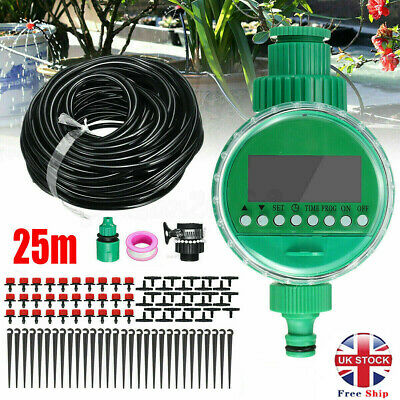 25M Automatic Drip Irrigation System Plant Timer Self Watering Garden Hose Kit • 16.19£