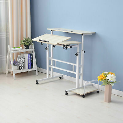 AU69 • Buy Mobile Rolling Stand-Up Computer Desk Workstation Height Adjustable Office Table