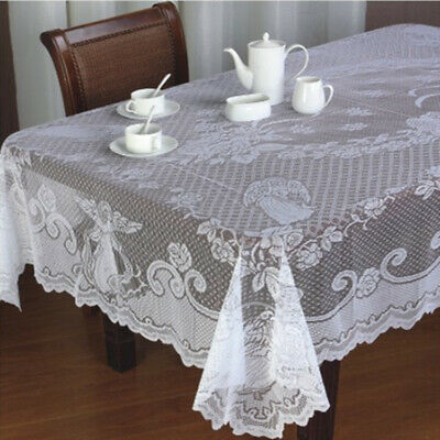 Christmas Table Cloth Cover Vintage Jesus White Lace Tablecloth Home Party Decor • 6.19£
