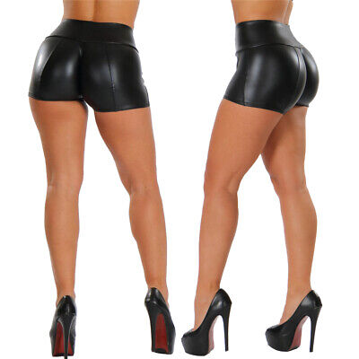 Women Ladies Shorts Pvc Hot Pants Wet Look Booty Dance Party Clubwear Sexy Shiny • 9.19£