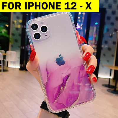 AU13.95 • Buy For IPhone 12 Mini 11 Pro Max XS SE Clear Case Glitter Bling Marble Bumper Cover