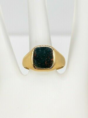£269.89 • Buy Antique Edwardian 1900s Signed HQ & S Bloodstone 9k Yellow Gold Mens Ring Band