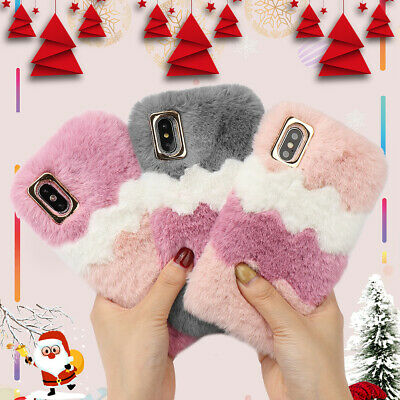 Cute Girly Faux Fur Case Fluffy Furry Shockproof Cover For IPhone 11 XR SE XS 8 • 5.89£