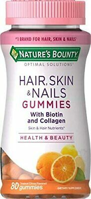 $10.80 • Buy 80ct Nature's Bounty Hair Skin Nails Gummies With Biotin,Collagen, Citrus Flavor