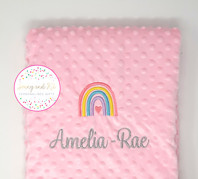 Personalised Baby Blanket, Pastel Rainbow Pink Girl Gift, Custom Embroidered • 15.99£