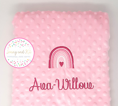 Personalised Baby Blanket, Pink Rainbow Girl Gift, Custom Embroidered, Any Name • 15.99£