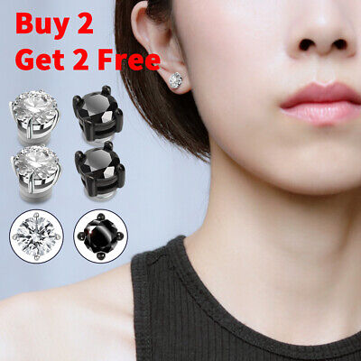 $5.95 • Buy Mens Womens Stainless Steel Round CZ Magnetic Stud Earrings Non-Piercing Clip On