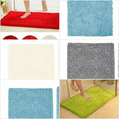 Large Non Slip Bathroom Rugs Shaggy Soft Fluffy Bath Mat Absorbent Shower New • 12.99£