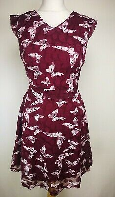 Yumi Womens Dress, Size 12, Plum, Butterfly Design, Very Good Condition.   U5 • 17.99£