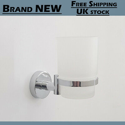 Holder With Glass Cup Mounted Bathroom Accessory Chrome Wall Toothbrush Tumbler • 11.26£